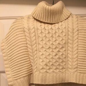 Girls Oshkosh ivory cable knit poncho